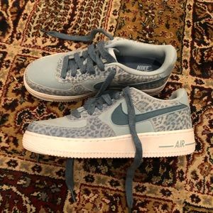 Blue Suede Leopard Nike Air Force 1 Sneakers